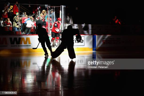 Goaltender Antti Raanta of the Arizona Coyotes skates onto the ice during the third period of the NHL game against the Dallas Stars at Gila River...
