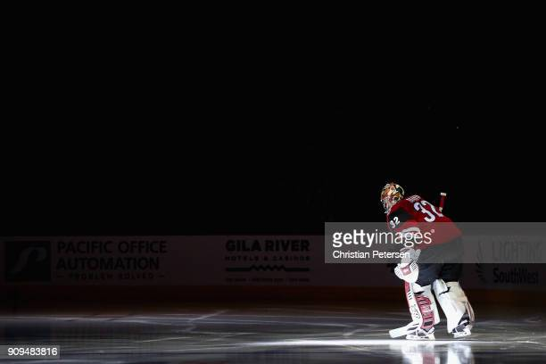 Goaltender Antti Raanta of the Arizona Coyotes skates out onto the ice before the NHL game against the New York Islanders at Gila River Arena on...