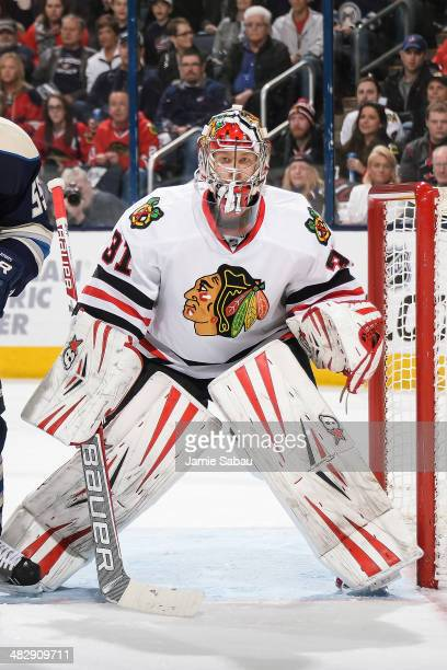 Goaltender Antti Raanta of the Chicago Blackhawks defends the net against the Columbus Blue Jackets on April 4 2014 at Nationwide Arena in Columbus...