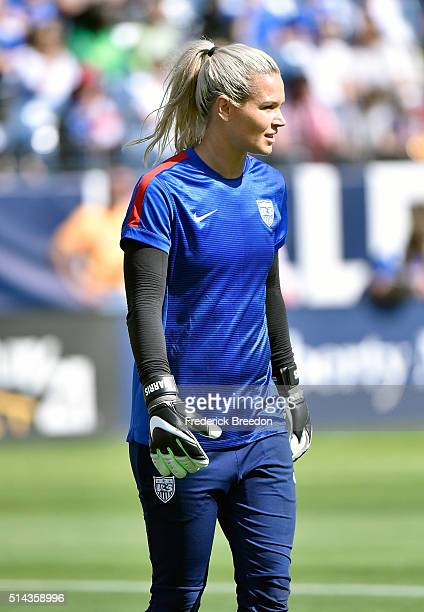 Goaltender Ashlyn Harris of the USA warms up prior to a game against France in an international friendly match of the SheBelieves Cup at Nissan...