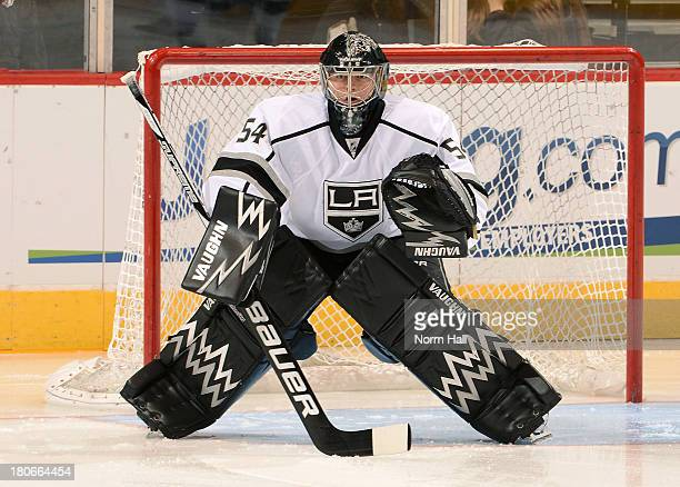Goaltender Ben Scrivens of the Los Angeles Kings gets ready to make a save during pregame against the Phoenix Coyotes at Jobingcom Arena on September...