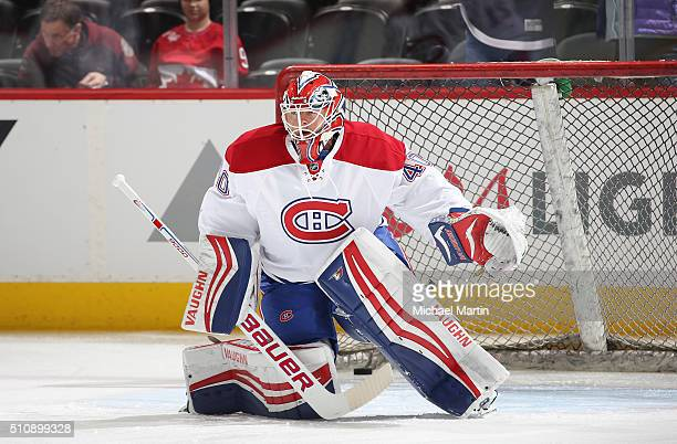 Goaltender Ben Scrivens of the Montreal Canadiens stands in goal prior to the game against the Colorado Avalanche at the Pepsi Center on February 17...