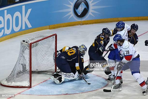 Goaltender Bernd Bruckler of Espoo Blues saves a shot by Mark Bastl of Lions Zurich during the IIHF Champions Hockey League 2nd semi-final match...