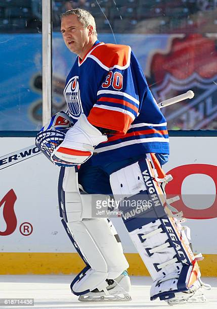 Goaltender Bill Ranford of the Edmonton Oilers alumni warms up before playing in the 2016 Tim Hortons NHL Heritage Classic Alumni Game against the...