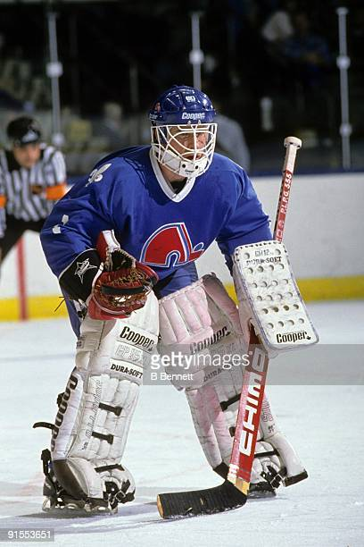 CIRCA 19881989 Goaltender Bob Mason of the Quebec Nordiques defends his net during an NHL game circa 19881989