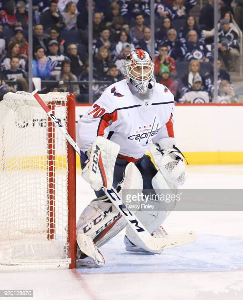 Goaltender Braden Holtby of the Washington Capitals guards the net during second period action against the Winnipeg Jets at the Bell MTS Place on...