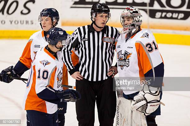 Goaltender Brent Moran of the Flint Firebirds speaks to the linesman during a game against the Windsor Spitfires on January 21 2016 at the WFCU...