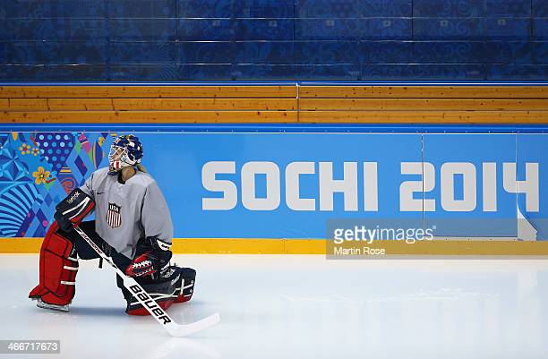 Goaltender Brianne McLaughlin of United states warms up during a training session ahead of the Sochi 2014 Winter Olympics at Shayba Arena on February...
