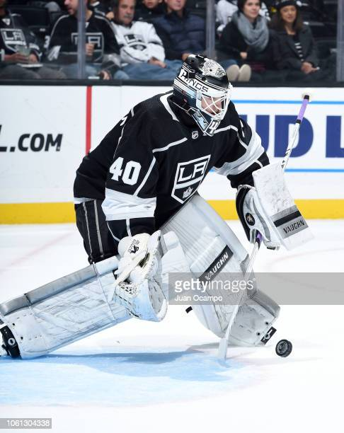 Goaltender Cal Petersen of the Los Angeles Kings makes a save during his NHL debut in the second period of the game against the Toronto Maple Leafs...