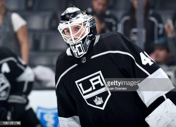 Goaltender Cal Petersen of the Los Angeles Kings skates during warmup before the game against the Toronto Maple Leafs at STAPLES Center on November...