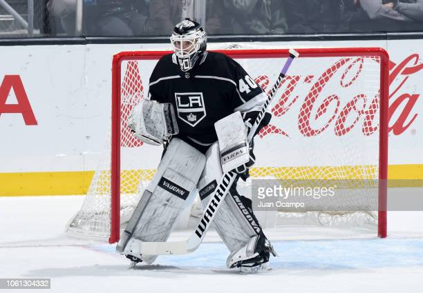 Goaltender Cal Petersen of the Los Angeles Kings tends net during his NHL debut in the second period of the game against the Toronto Maple Leafs at...