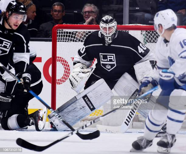 Goaltender Cal Petersen of the Los Angeles Kings tends net during the third period of the game against the Toronto Maple Leafs at STAPLES Center on...