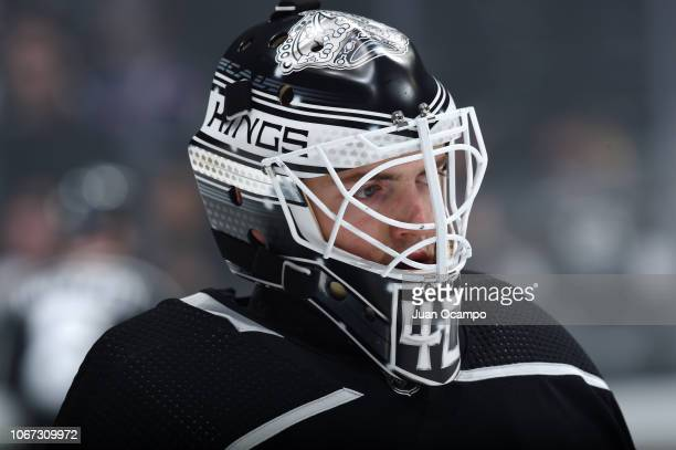 Goaltender Cal Petersen of the Los Angeles Kings watches warmup before his NHL debut in the game against the Toronto Maple Leafs at STAPLES Center on...