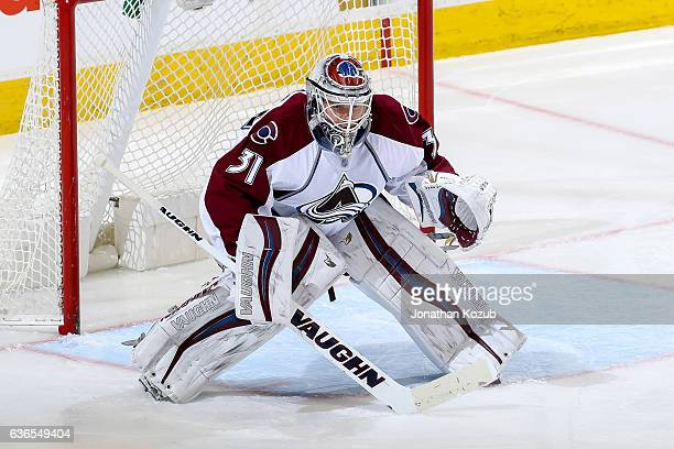 Goaltender Calvin Pickard of the Colorado Avalanche guards the net during third period action against the Winnipeg Jets at the MTS Centre on December...
