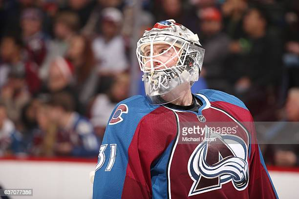 Goaltender Calvin Pickard of the Colorado Avalanche looks on against the Calgary Flames at the Pepsi Center on December 27 2016 in Denver Colorado...
