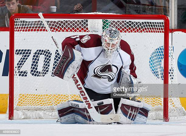 Goaltender Calvin Pickard of the Colorado Avalanche makes a save on a shot from the Arizona Coyotes during the third period of the NHL game at Gila...