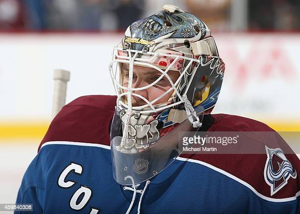 Goaltender Calvin Pickard of the Colorado Avalanche pauses prior to the game against the Dallas Stars at the Pepsi Center on November 29 2014 in...