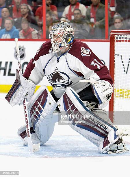 Goaltender Calvin Pickard of the Colorado Avalanche plays in the game against the Ottawa Senators at Canadian Tire Centre on October 16 2014 in...