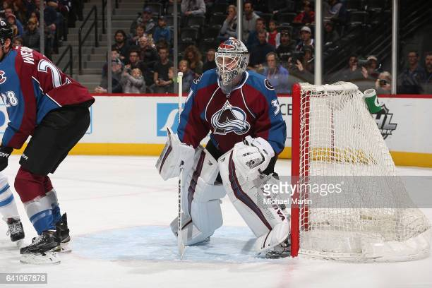 Goaltender Calvin Pickard of the Colorado Avalanche skates against the Winnipeg Jets at the Pepsi Center on February 4 2017 in Denver Colorado The...
