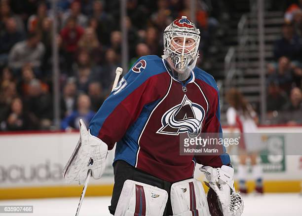 Goaltender Calvin Pickard of the Colorado Avalanche skates back to the net during a break in the action against the Philadelphia Flyers at the Pepsi...