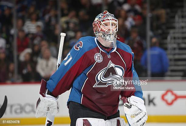 Goaltender Calvin Pickard of the Colorado Avalanche skates during a break in the action against the Nashville Predators at the Pepsi Center on March...