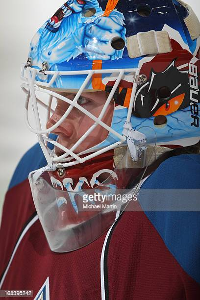 Goaltender Calvin Pickard of the Colorado Avalanche skates prior to the game against the Minnesota Wild at the Pepsi Center on April 27 2013 in...