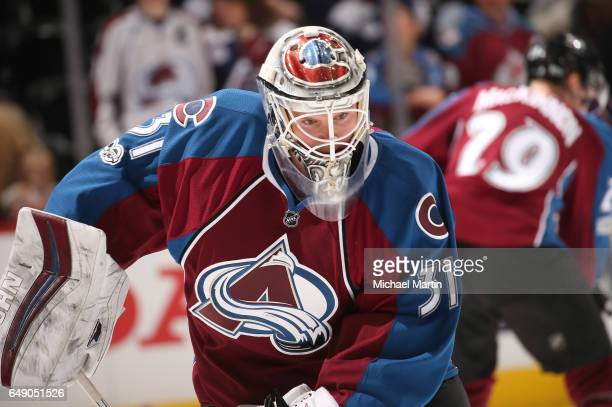 Goaltender Calvin Pickard of the Colorado Avalanche skates prior to the game against the St Louis Blues at the Pepsi Center on March 5 2017 in Denver...