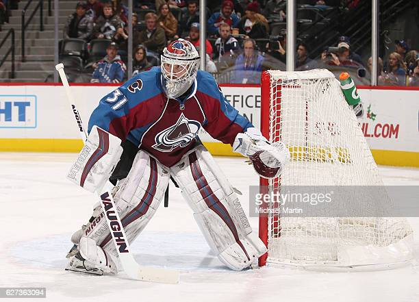 Goaltender Calvin Pickard of the Colorado Avalanche stands ready against the Nashville Predators at the Pepsi Center on November 29 2016 in Denver...