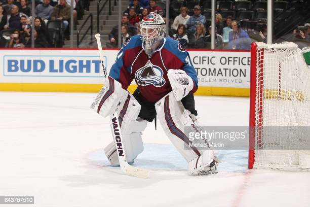 Goaltender Calvin Pickard of the Colorado Avalanche stands ready against the Tampa Bay Lightning at the Pepsi Center on February 19 2017 in Denver...