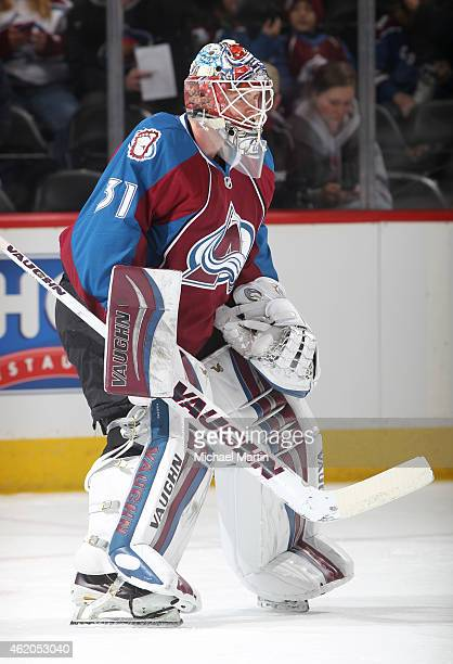 Goaltender Calvin Pickard of the Colorado Avalanche warms up prior to the game against the Boston Bruins at the Pepsi Center on January 21 2015 in...