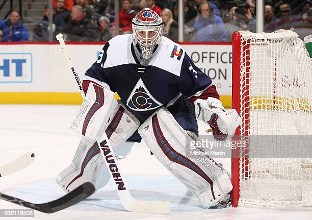 Goaltender Calvin Pickard of the Colorado Avalanche watches action near by against the Florida Panthers at the Pepsi Center on December 16 2016 in...