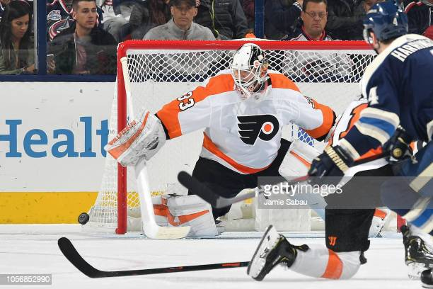 Goaltender Calvin Pickard of the Philadelphia Flyers defends the net against the Columbus Blue Jackets on October 18 2018 at Nationwide Arena in...
