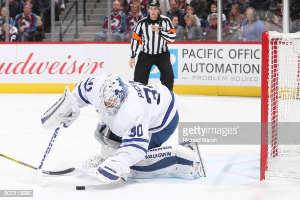 Goaltender Calvin Pickard of the Toronto Maple Leafs makes a save against the Colorado Avalanche at the Pepsi Center on December 29 2017 in Denver...