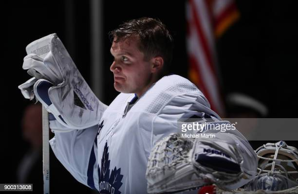 Goaltender Calvin Pickard of the Toronto Maple Leafs stands for the National Anthem prior to the game against the Colorado Avalanche at the Pepsi...