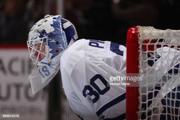 Goaltender Calvin Pickard of the Toronto Maple Leafs stands in goal during the game against the Colorado Avalanche at the Pepsi Center on December 29...