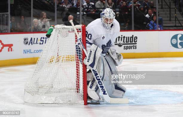 Goaltender Calvin Pickard of the Toronto Maple Leafs stands ready against the Colorado Avalanche at the Pepsi Center on December 29 2017 in Denver...
