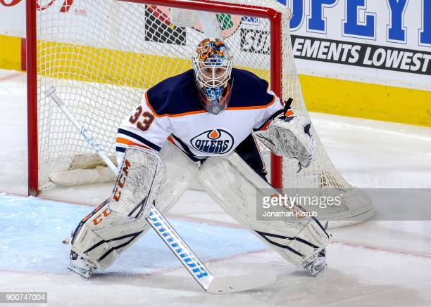 Goaltender Cam Talbot of the Edmonton Oilers guards the net during second period action against the Winnipeg Jets at the Bell MTS Place on December...