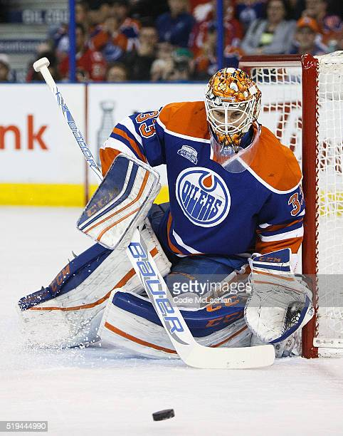 Goaltender Cam Talbot of the Edmonton Oilers makes a save against the Calgary Flames on April 2 2016 at Rexall Place in Edmonton Alberta Canada