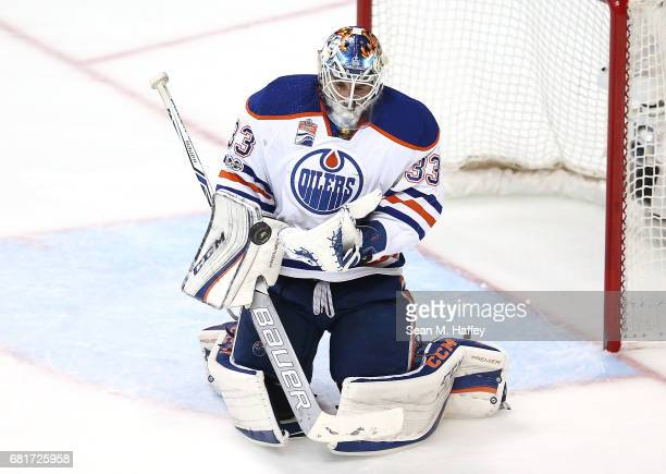 Goaltender Cam Talbot of the Edmonton Oilers saves a shot against the Anaheim Ducks in Game Seven of the Western Conference Second Round during the...