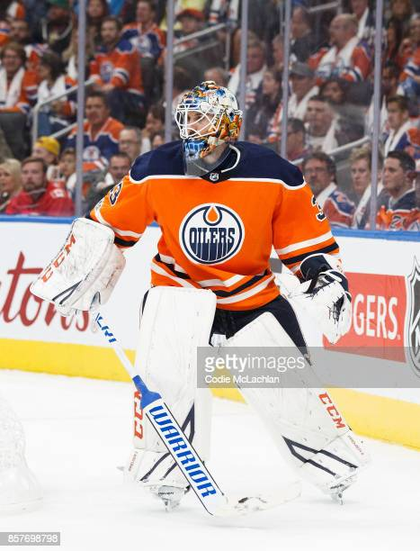 Goaltender Cam Talbot of the Edmonton Oilers skates against the Calgary Flames at Rogers Place on October 4 2017 in Edmonton Canada