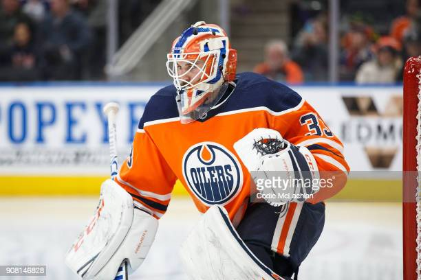 Goaltender Cam Talbot of the Edmonton Oilers skates against the Vancouver Canucks at Rogers Place on January 20 2018 in Edmonton Canada