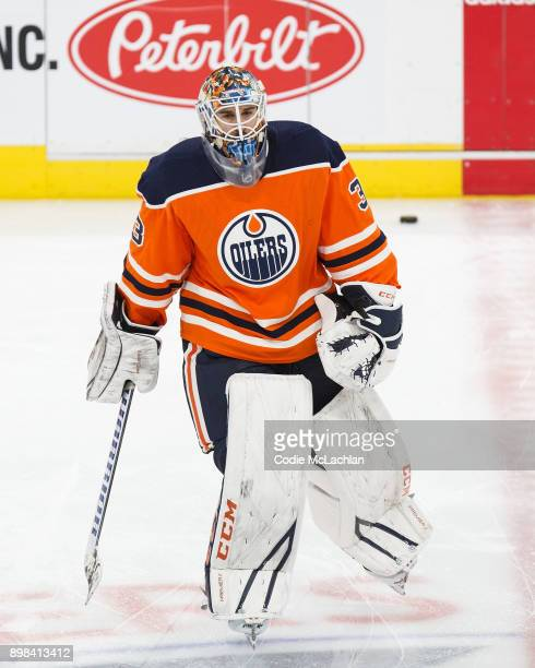 Goaltender Cam Talbot of the Edmonton Oilers skates against the St Louis Blues at Rogers Place on December 21 2017 in Edmonton Canada