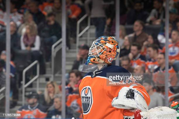 Goaltender Cam Talbot of the Edmonton Oilers skates during the game against the San Jose Sharks on February 9 2019 at Rogers Place in Edmonton...