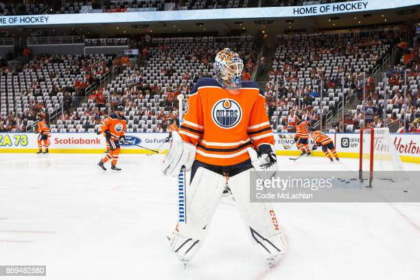 Goaltender Cam Talbot of the Edmonton Oilers warms up against the Calgary Flames at Rogers Place on October 4 2017 in Edmonton Canada