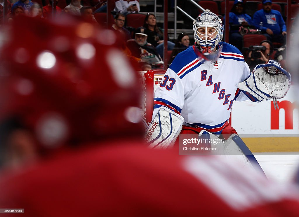 Goaltender Cam Talbot #33 of the New York Rangers in action during the first period of the NHL game against the Arizona Coyotes at Gila River Arena on February 14, 2015 in Glendale, Arizona. The Rangers defeated the Coyotes 5-1.