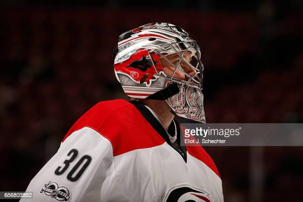 Goaltender Cam Ward of the Carolina Hurricanes skates back to the net after a break in the action against the Florida Panthers at the BBT Center on...