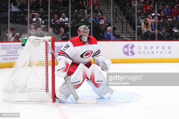 Goaltender Cam Ward of the Carolina Hurricanes stands ready against the Colorado Avalanche at the Pepsi Center on November 2 2017 in Denver Colorado...