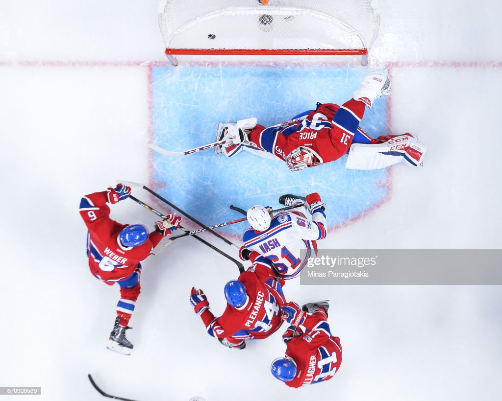 Goaltender Carey Price #31 of the Montreal Canadiens allows a goal in the second period against the New York Rangers in Game Five of the Eastern Conference First Round during the 2017 NHL Stanley Cup Playoffs at the Bell Centre on April 20, 2017 in Montreal, Quebec, Canada. The New York Rangers defeated the Montreal Canadiens 3-2 in overtime.