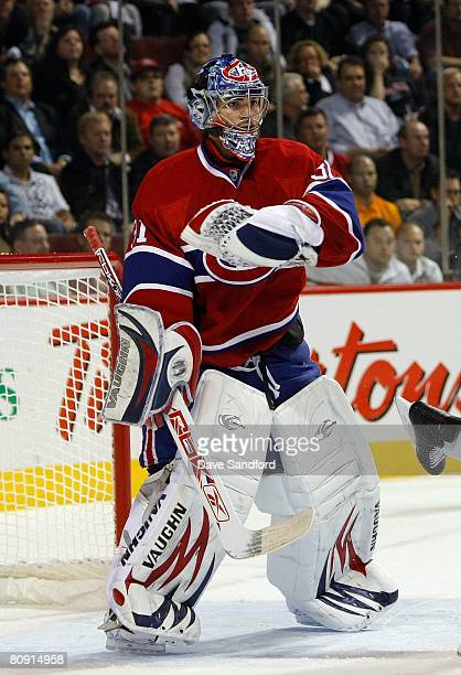 Goaltender Carey Price of the Montreal Canadiens defends his net against the Boston Bruins during game seven of the 2008 NHL Eastern Conference...