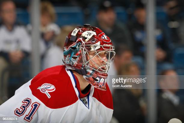 Goaltender Carey Price of the Montreal Canadiens defends the goal against the Tampa Bay Lightning at the St. Pete Times Forum on January 27, 2010 in...